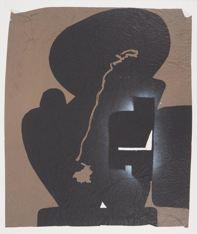 Elapsed Time in Brown - Original Mix Media - Handsigned - Abstract Print by Ladislas Kijno