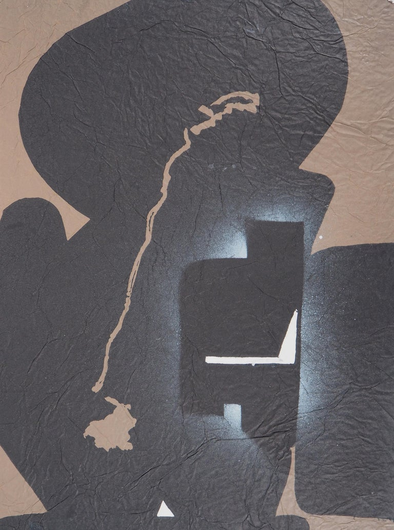 Elapsed Time in Brown - Original Mix Media - Handsigned - Black Abstract Print by Ladislas Kijno