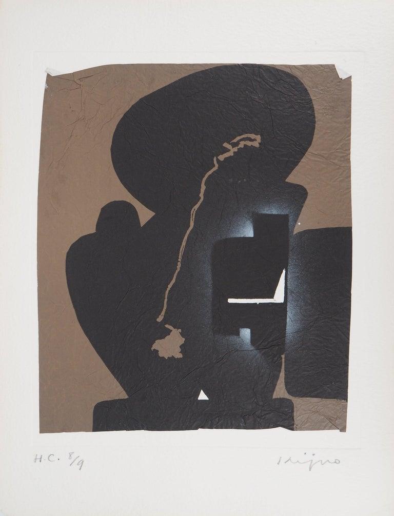 Ladislas Kijno Abstract Print - Elapsed Time in Brown - Original Mix Media - Handsigned