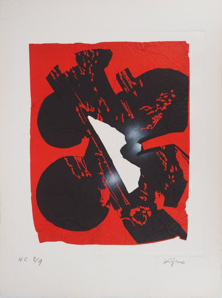 Ladislas Kijno Abstract Print - Elapsed Time in Red - Original Mix Media - Handsigned