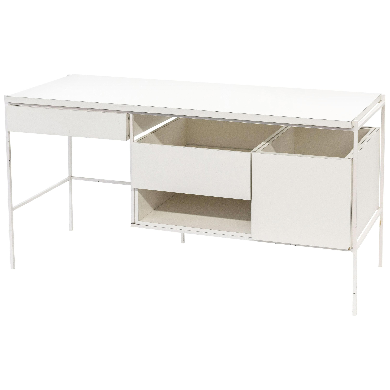 Ladislav Rado White Enameled Steel Modern Desk, Vanity, 1955, Knoll and Drake