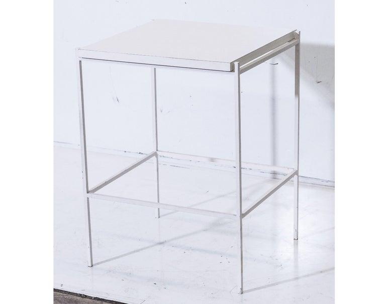 Mid-Century Modern Ladislav Rado White enameled Steel Modern Side Table, 1955, Knoll and Drake For Sale
