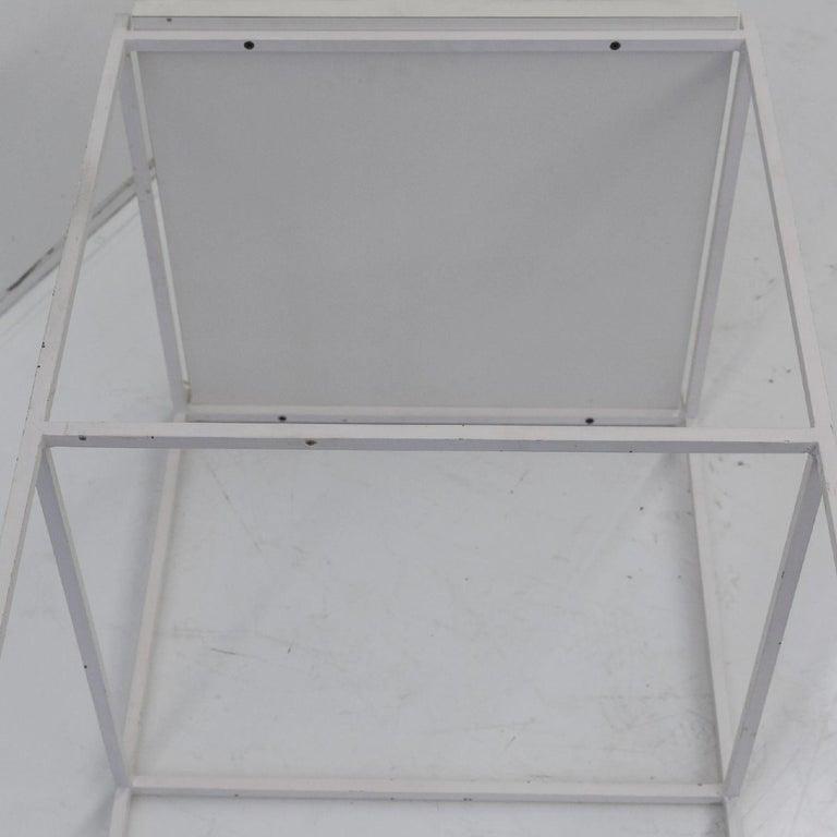 20th Century Ladislav Rado White enameled Steel Modern Side Table, 1955, Knoll and Drake For Sale
