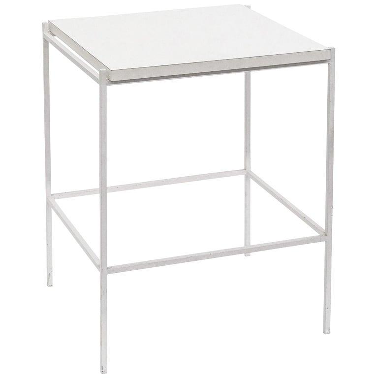 Ladislav Rado White enameled Steel Modern Side Table, 1955, Knoll and Drake For Sale