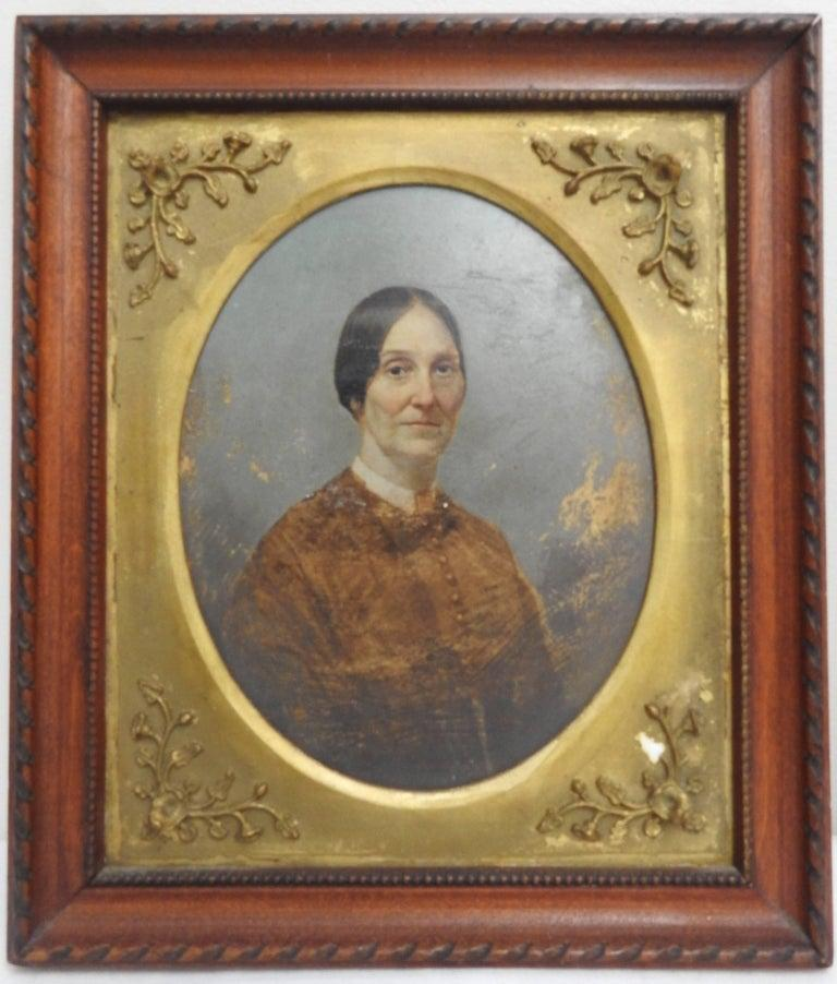 Lady and Gentleman, Oil on Board In Fair Condition For Sale In Cookeville, TN
