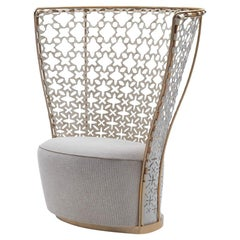 Lady B Armchair in White Leather with Gold Frame by Busnelli