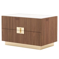 Lady Bedside Table, Portuguese 21st Century Contemporary with Marble Top