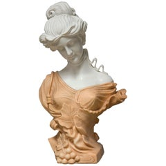 Lady Bust, Marble, after circa 1900 Models from French Art Nouveau