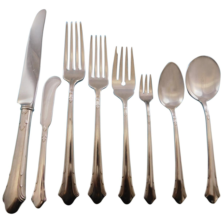 Lady Caroline by Gorham Silver plate Flatware Set for 12 Service 107 Pcs Dinner