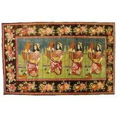 Lady Deer Colorful Pictorial Vintage Karabagh Rug