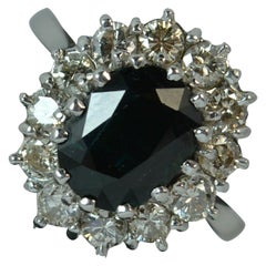 Lady Diana Design 18 Carat White Gold Sapphire and 1 Carat Diamond Cluster Ring