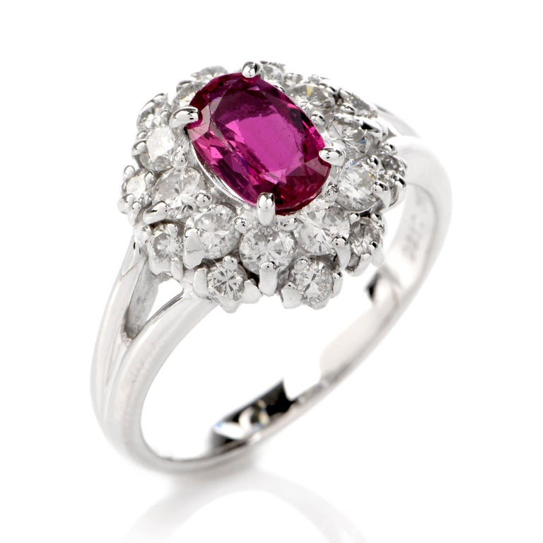 Round Cut Ruby Diamond Halo Platinum Cocktail Ring For Sale