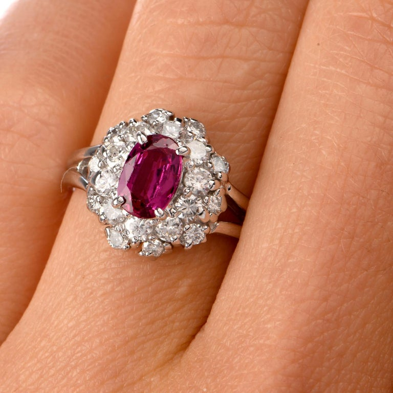 Women's Ruby Diamond Halo Platinum Cocktail Ring For Sale