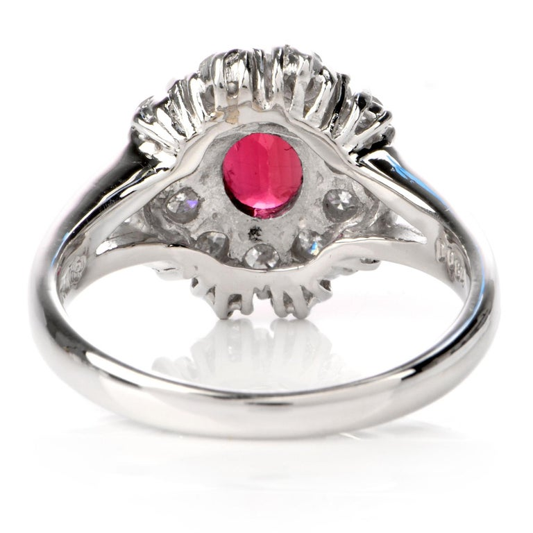 Ruby Diamond Halo Platinum Cocktail Ring For Sale 1