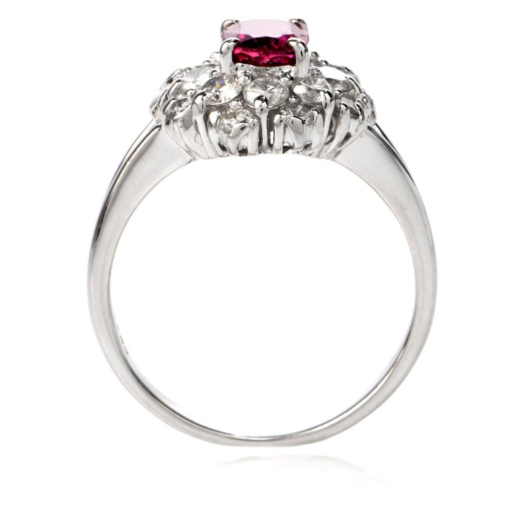 Ruby Diamond Halo Platinum Cocktail Ring For Sale 2