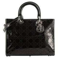 Lady Dior Bag Stitched Cannage Patent Large
