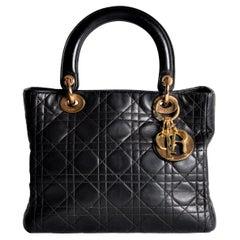 Lady Dior Black Quilted Lambskin Bag Medium