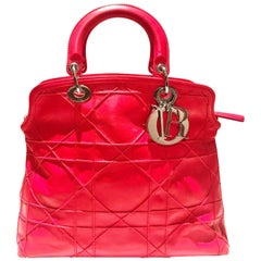 Dior Lady Dior Calfskin Red Leather Cannage Tote Bag