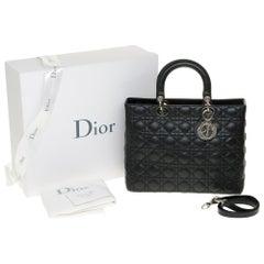 Lady Dior GM ( large model) shoulder bag with strap in black cannage, SHW
