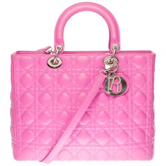 Lady Dior GM ( large model) shoulder bag with strap in pink cannage leather, SHW