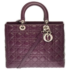 Lady Dior GM ( large model) shoulder bag with strap in purple cannage, SHW