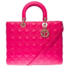Lady Dior GM ( large size) shoulder bag with strap in Pink cannage leather, SHW
