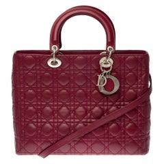 Lady Dior GM ( large size) shoulder bag with strap in plum cannage leather, SHW