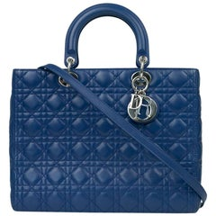 Lady Dior in blue leather