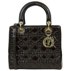 Lady Dior in brown patent leather