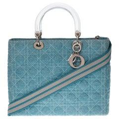 Lady Dior large model in blue denim shoulder bag with strap, silver hardware