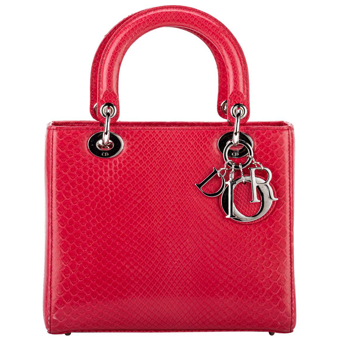 Lady Dior Large Red Python Bag