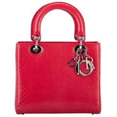 Lady Dior Large Red Python Bag
