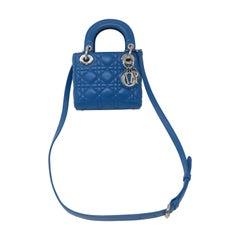 Lady Dior Mini Blue Crossbody Bag