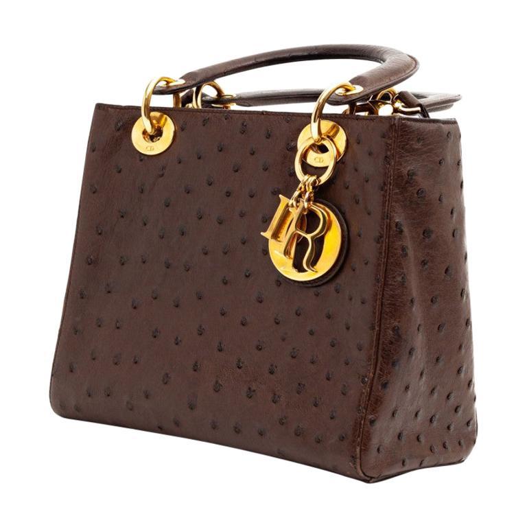 Lady Dior Ostrich Cocoa Brown Handbag