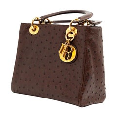 Lady Dior Ostrich Cocoa Brown Handbag