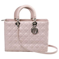 Lady Dior Quilted Purple Leather Bag