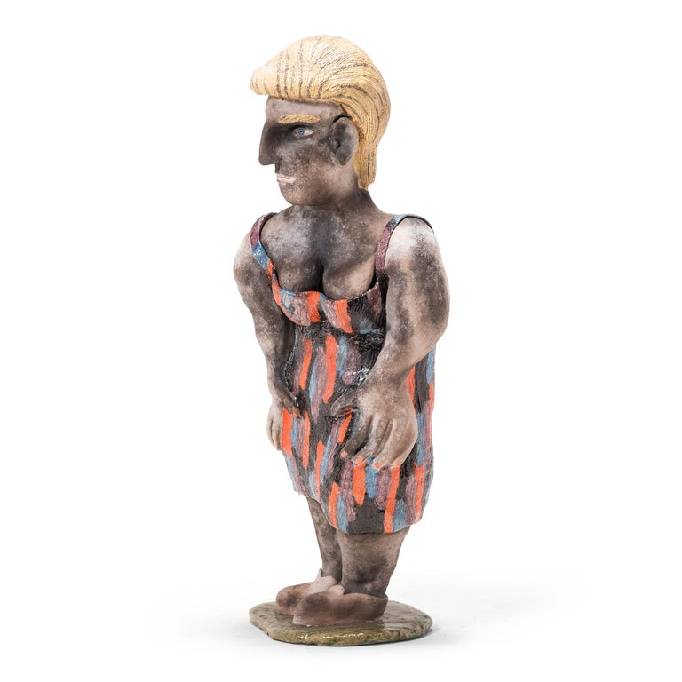 Although this whimsical sculpture by Allan Winkler has the look of outsider art, this ceramic work stems from the art school-trained artist's interest in the Chicago Imagists. This group of artists added an urban twist to their surreal works by