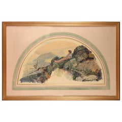 Lady in Landscape, Watercolor, Dedicated and Signed, Arcos Y Megalde, Santiago