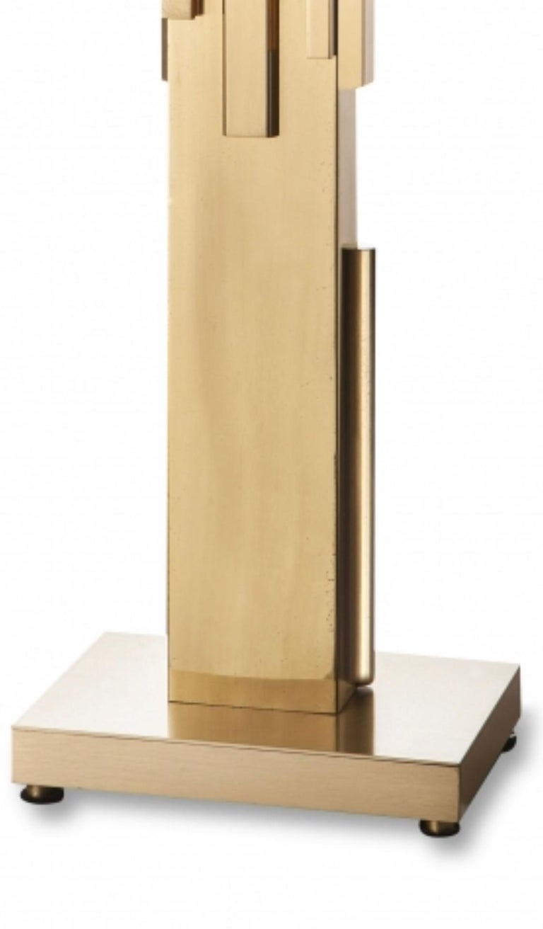 Beautiful 'Lady Madonna' table lamp by Frigerio, Italy, 1970s. Brass with fabric lampshade.