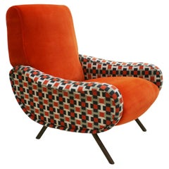 """Lady"" Marco Zanuso by Arflex Cotton Velvet and Hermes Fabric Italian Armchair"