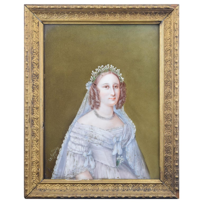 """Lady"", Portrait on Porcelain, Signed at Bottom Left Corne, 19th Century For Sale"