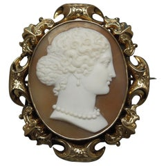 Lady Profile Massive Cameo Brooch