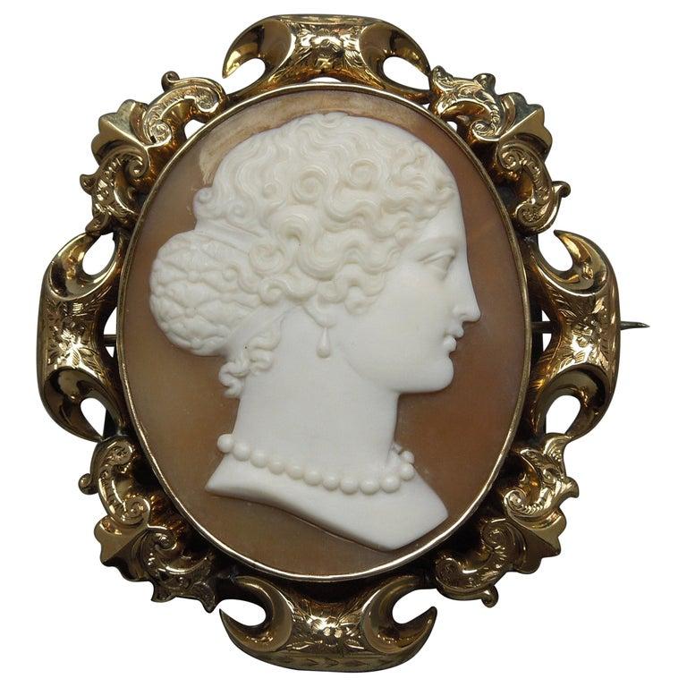 Lady Profile Massive Cameo Brooch For Sale