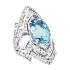 Lady Stardust Aquamarine '6.00cts' and White Diamond '0.89cts' Couture Ring