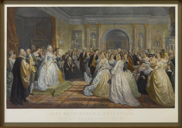 This 1865, hand-colored engraving by A. H. Ritchie is entitled Lady Washington's Reception and is based on Daniel F. Huntington's original painting