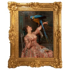 Lady with a Parrot '1873' by Émile Villa