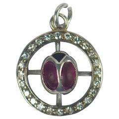 Ladybird Ruby Diamond White Gold Charm Pendant