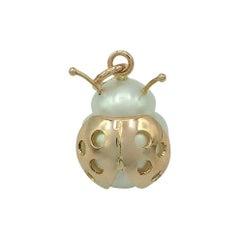 Ladybug/Bird Red 18 Karat Gold Australian Pearl Lucky Pendant/Necklace