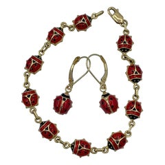 Ladybug Bracelet and Earrings 14 Karat Gold Enamel Beetle Insect