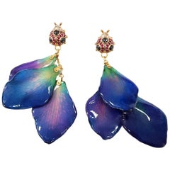Ladybug Earrings with Orchid Petals, Sapphires and Diamonds in 18 Karat Gold